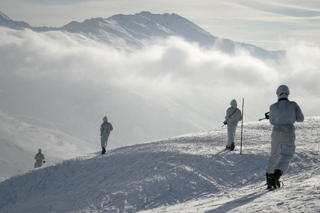 soldiers: France, Alps - circa, 2011. Legionnaires-sappers during the mountain training.