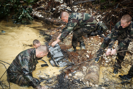French Guiana, - circa, 2011. Legionaries-infantrymen during the operation Orpailleur Editorial