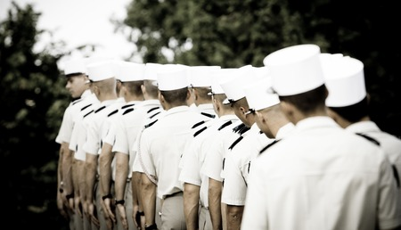foreign nation: France, Paris - 14 july 2011.Legionnaires of the French foreign legion dressed in ceremonial uniforms stand in line before the start of the parade on the Champs-Elysees. Stock Photo