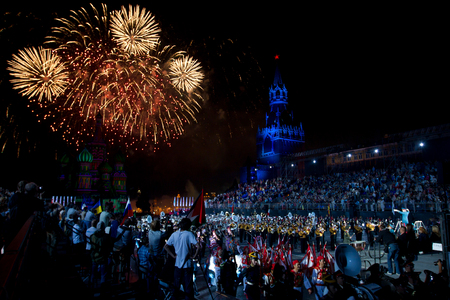 spasskaya: Moscow, Russia. May, 9, 2011. Salute during the parade on Red Square in Moscow in honor of the victory over the Nazi occupation. Stock Photo