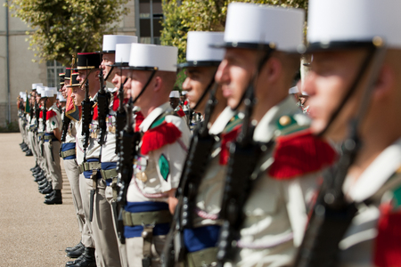 Paris, France - July 14, 2011. A group of legionaries of the French foreign legion before the parade on the Champs Elysees. Editorial