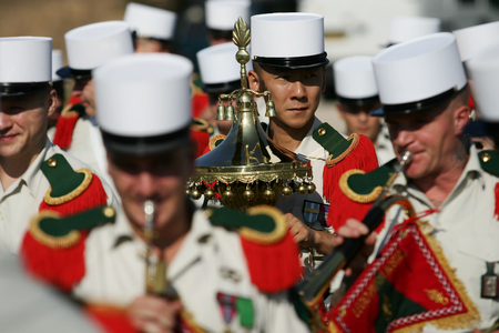 Paris, France - July 14, 2011. Group of foreign musicians of the French foreign legion during the parade on the Champs Elysees.