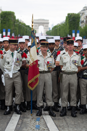 Paris, France - July 14, 2012. A group of legionaries of the French foreign legion before the parade on the Champs Elysees in Paris.
