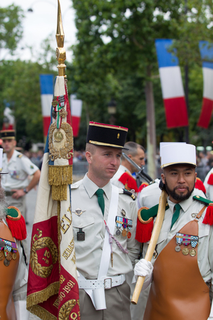 Paris. France. July 14, 2012. A group of legionaries of the French foreign legion before the parade on the Champs Elysees in Paris. Editorial