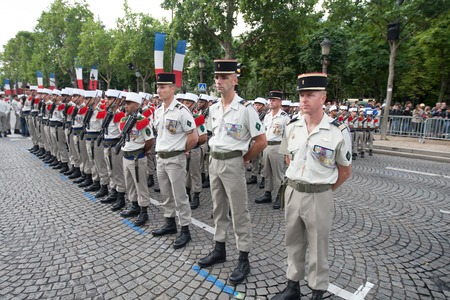 Paris. France. July 14, 2012. Rows of foreign legionaries of the French foreign legion in parade uniforms during the parade on the Champs Elysees in Paris.