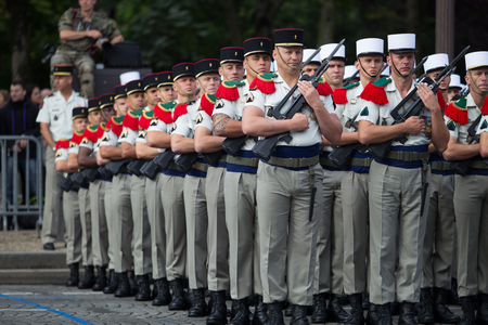 Paris. France. July 14, 2012. The ranks of the foreign legionaries of the French foreign legion during parade time on the Champs Elysees in Paris.