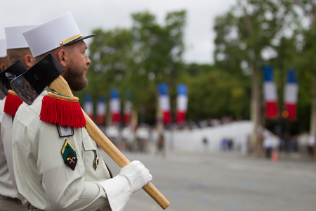 Paris. France. July 14, 2012. The ranks of the legionaries pioneers of the French foreign legion during parade time on the Champs Elysees in Paris.
