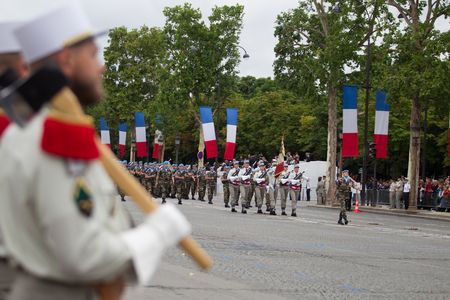Paris. France. July 14, 2012. The ranks of the legionaries of the French foreign legion during parade time on the Champs Elysees in Paris. Editorial