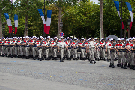 Paris, France - July 14, 2012. The procession of legionnaires of the French foreign legion during the military parade on the Champs Elysees in Paris.