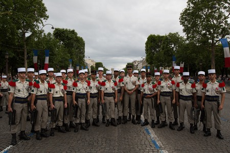 Paris, France - July 14, 2012. Soldiers poses before the march in the annual military parade in Paris.