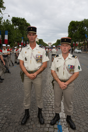 Paris, France - July 14, 2012. Soldiers from the French Foreign Legion poses before the march in the annual military parade in honor of the Bastille Day in Paris. Editorial