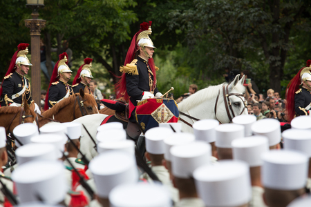 Paris, France - July 14, 2012. Equestrian French Republican Guard takes part in the annual military parade in honor of the Bastille Day. Editorial