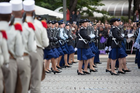 Paris, France - July 14, 2012. Soldiers from the French Foreign Legion march during the annual military parade in honor of the Bastille Day. Editorial