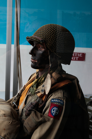 hoc: France, Normandy, June 6, 2011 - Mannequin of the American paratrooper during the landing of the Allies in Normandy.