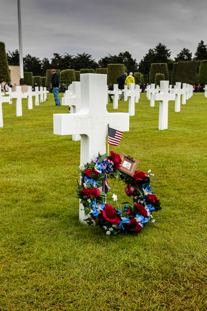 France, Normandy, June 6, 2011 - Graves of soldiers who died during the military operation in 1944 during the landing of the Allies in Normandy. Editorial