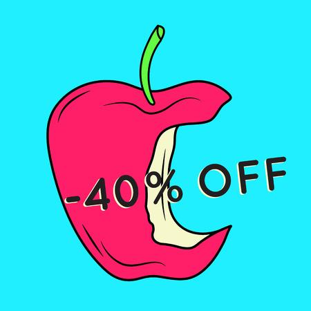 Summer sale background with apple. Summer sale banner.