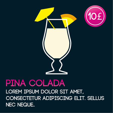kamikaze: Pina Colada cocktail card template with price and flat background Illustration