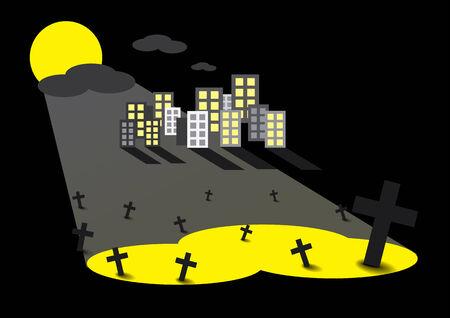 moonrise: cemetery Illustration