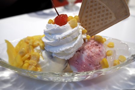 topping: Ice cream with topping sweet and cold Stock Photo