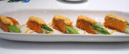 hotate: Salmon mentai sauce is Japanese food