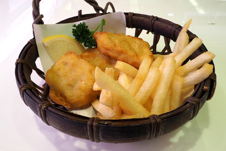 fried food: Deep fried food french fried and nugget