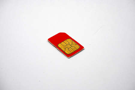 prepaid: Red Sim card for telephone Stock Photo