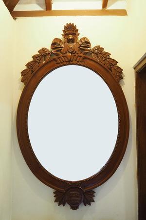 mirror frame: mirror with wood frame design Stock Photo