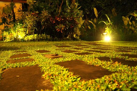 lighting: take a rest in garden at night Stock Photo