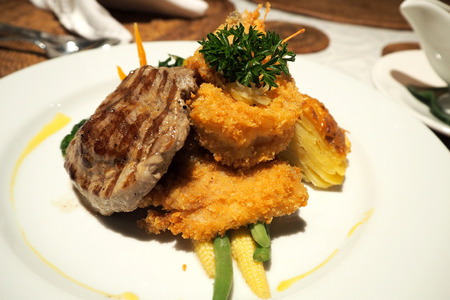 Beef steak serve with fried set