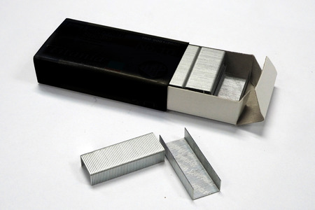 staple is made from steel Stock Photo