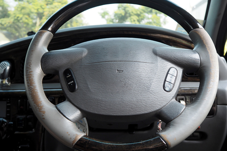 car steering made from wood and leather very beautiful