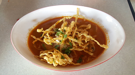 soi: Egg Noodle in Chicken Curry very yummy in Thai style
