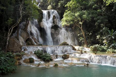 Tat Kuang Si Waterfalls luang prabang in Lao very nice Stock Photo