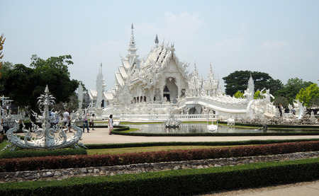 Thai white temple look so nice and perfect