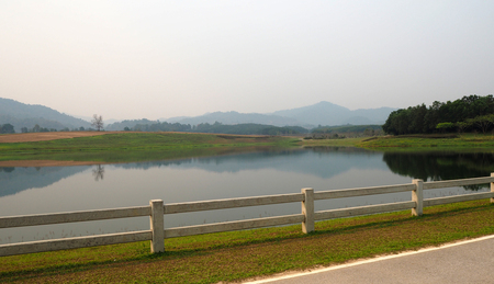 The panorama mountain and river look nice and beautyful