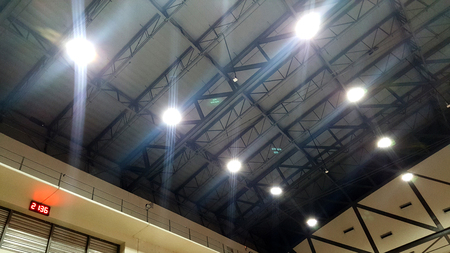 Many light on the roof inside the big hall