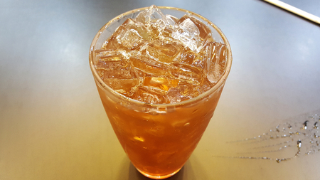 The lemon icetea with ice very sweet and sour Stock Photo