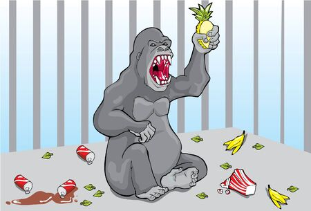 cage gorilla: Gorilla in the cage Illustration