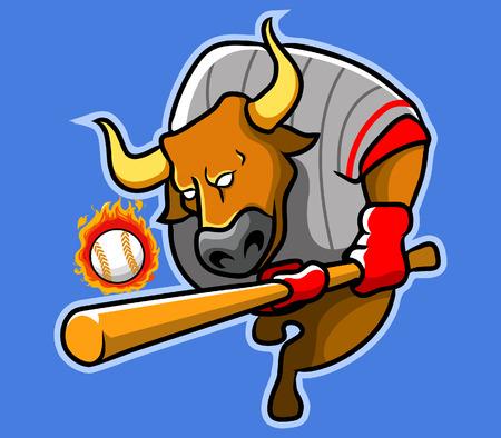 ballplayer: baseballer bull Illustration