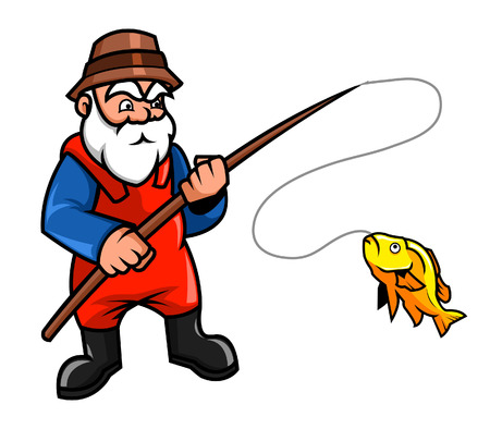 cartoon hat: Old fisherman chatching a fish Illustration