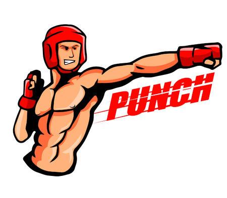 gymnasium: illustration of a boxer throw a punch.