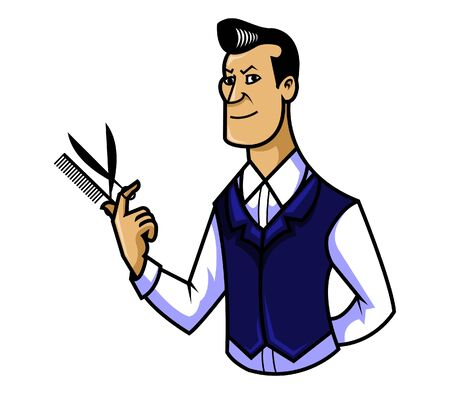facial painting: vector illustration of barber