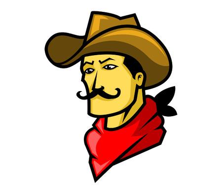 hombres maduros: ilustraci�n vectorial de la cabeza de vaquero