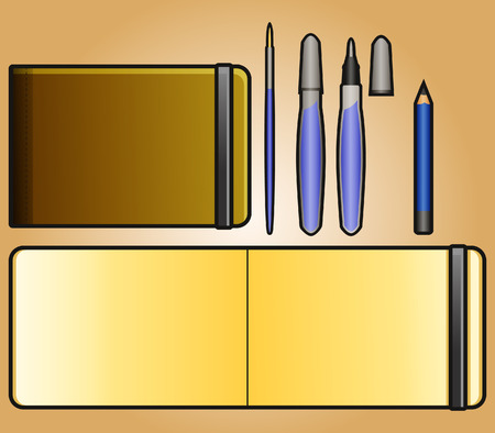 note pad and pen: Simple icon of landscape sketchbook and drawing tool