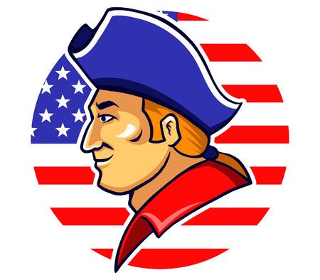 american revolution: vector illustration of American patriot head