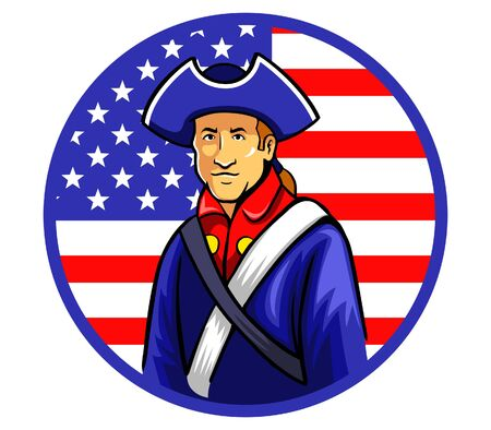 american revolution: A minutemen standing in front of US flag.