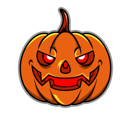 cheesy grin: Pumpkin Head Illustration