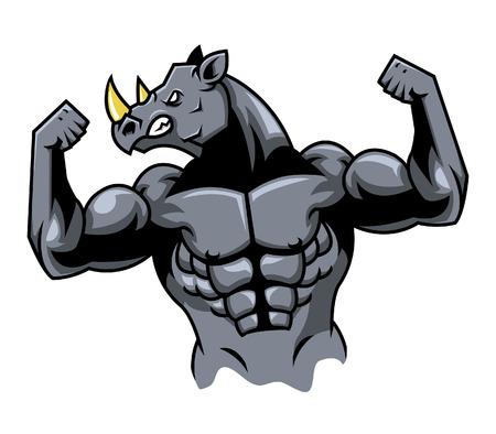 endangered species: Muscular Rhino Illustration