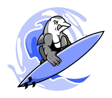 surf vector: Vector illustration of surfing dolphin Illustration
