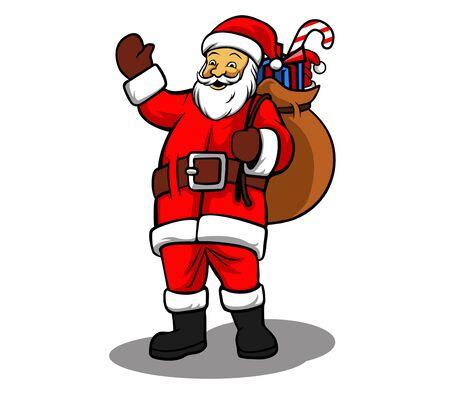 goody: vector illustration of Santa Claus bring sack of gifts. Illustration